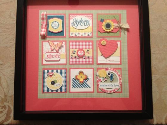gingham squares framed
